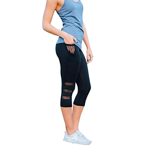 840fc99cf38558 Leggings Damen, ABsolute Damen Skinny 3/4 Leggings Patchwork Mesh Yoga  Leggings Fitness Sport Capri Sporthosen
